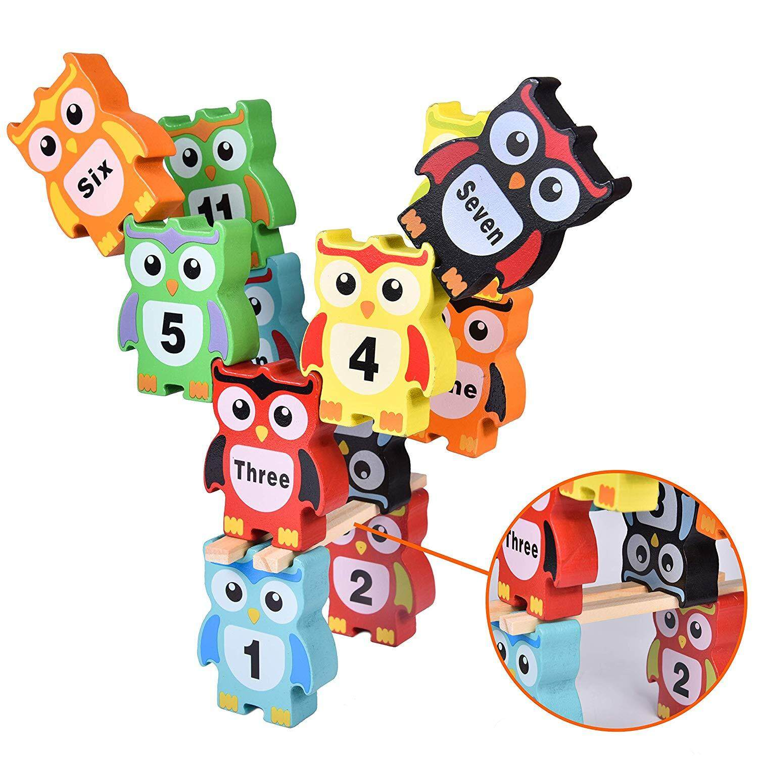55 Pcs Wooden Owl Stacking Blocks Toy Set Educational Building Blocks Toy Balance Game for Kids Learning Number Ideal Christmas Birthday Gift