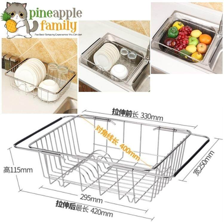 Excellent kitchen sink stainless steel rectangular wash vegetables basket drain rack