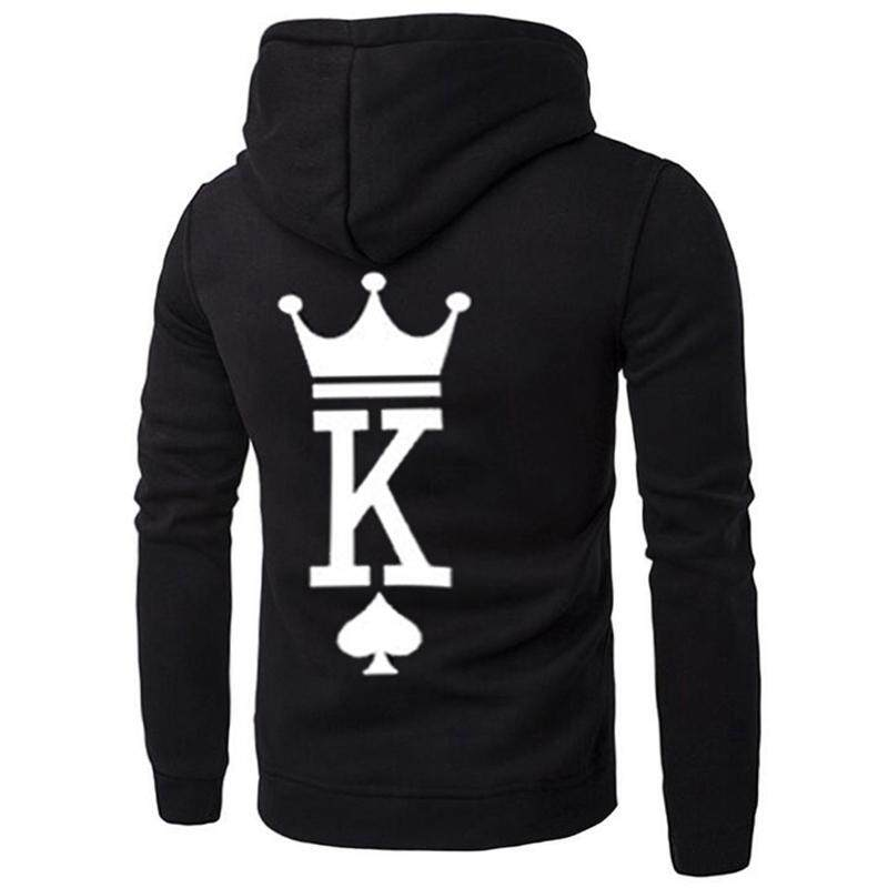 4631520848a468 Men Couple Hoodies Long Sleeved Hoodies Coat King Queen Poker Printed Lover  Hoodies Sweatershirt Poker Printed