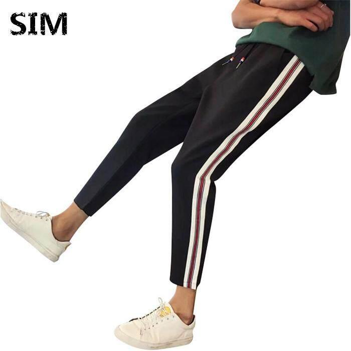 025a4dceb6d SIM Fashion Joggers Jogging Slim Fit Sweatpants Man Street Style Trousers  Purple