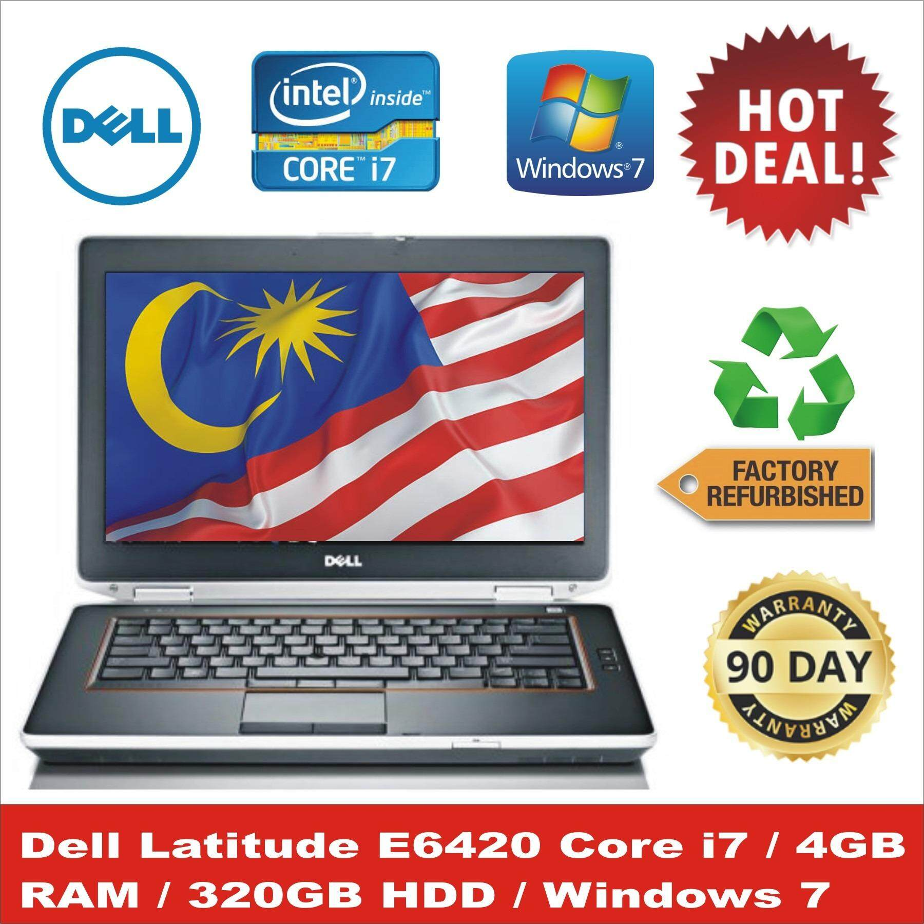Dell Latitude E6420 - 14 - Core i7 2620M - Windows 7 Pro 64-bit - 4 GB RAM - 320 GB HDD(Refurbished) Malaysia
