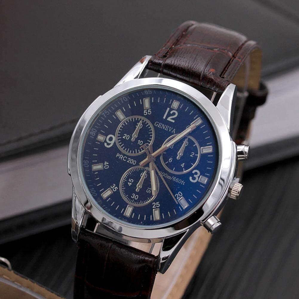 Luxury Mens Date Stainless Steel Quartz Leather Strap Band Wrist Watch Watch AU Malaysia