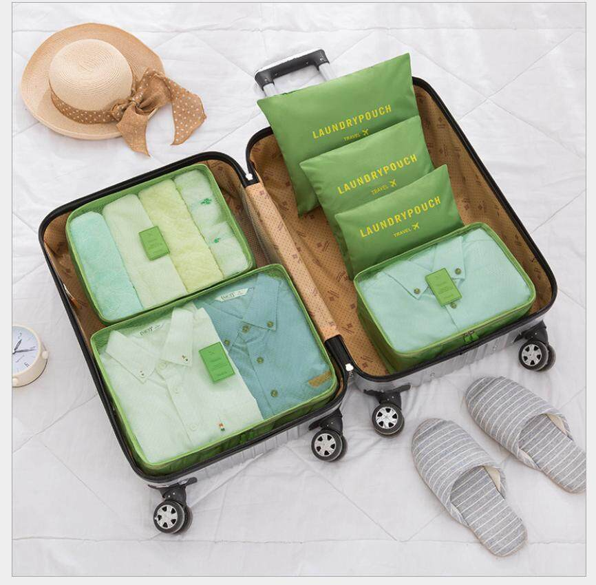 YOI Travel Luggage Organizer Bag 6 in 1 Clothes Storage Bags - 3 Travel Cubes +