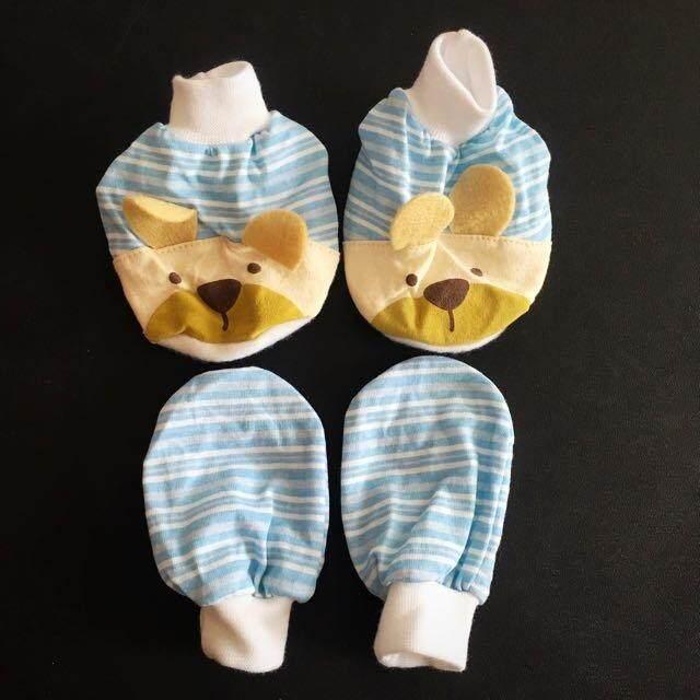 Newborn Baby Boy 3d Mittens & Booties 0-6 Months Sarung Kaki Tangan Comel Bayi By Preciousbabeboutique.