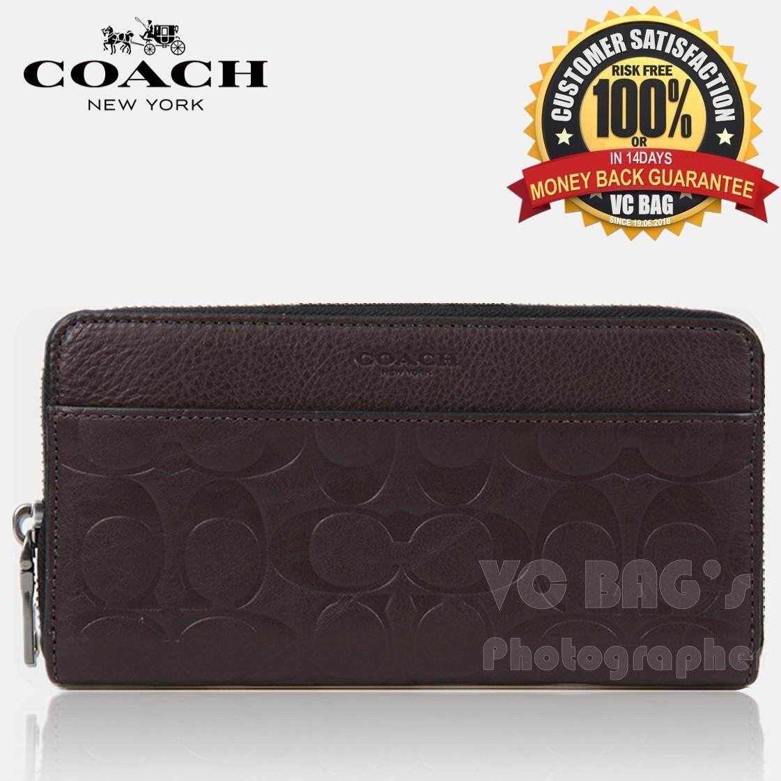 3d61c71be533d COACH F74999 Signature Embossed Leather Accordion Zip Around Wallet   Mahogany