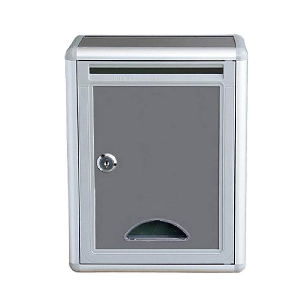 Blesiya Gray Mailbox Durable Wall Mounted Letter Box Post Box with Lock for Home