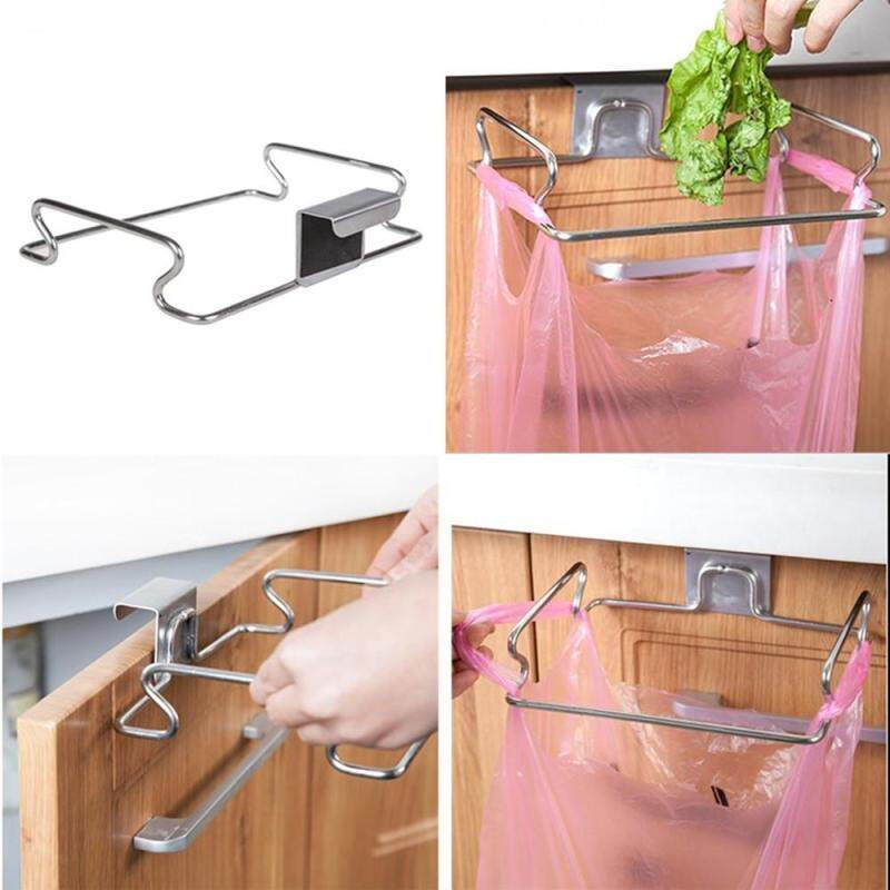 Hotilystore Stainless Steel Garbage Bag Rack Hook Multifunctional Kitchen Cabinet Door Rear