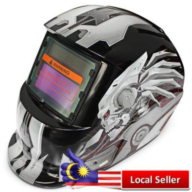 SOLAR ENERGY AUTOMATIC CHANGEABLE LIGHT ELECTRIC WELDING PROTECTIVE HELMET WITH HERO CHARACTER PATTERN (BLACK)