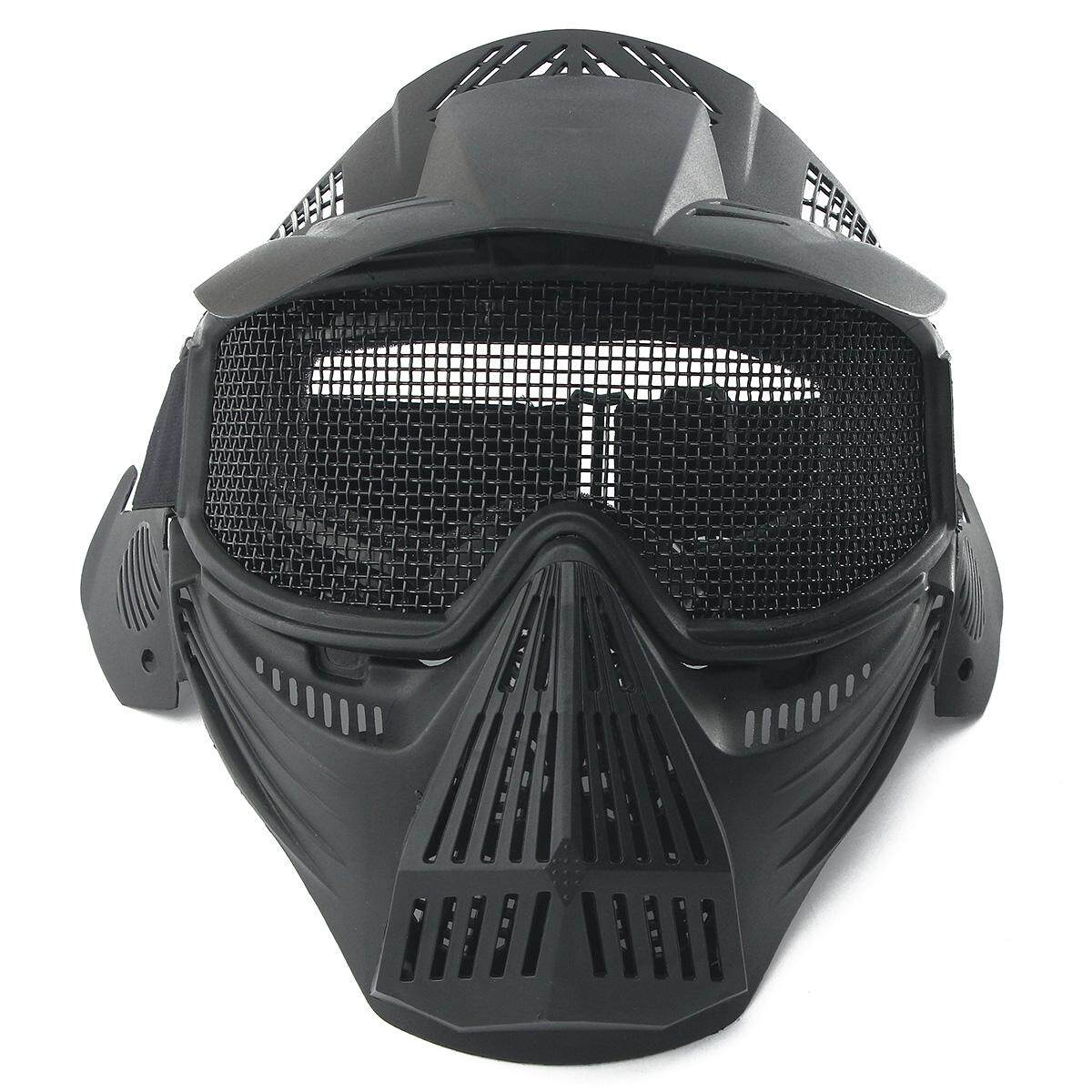 3PCS Outdoor Paintball Airsoft Full Face Protection Mask Cosplay Metal Mesh Goggles Black