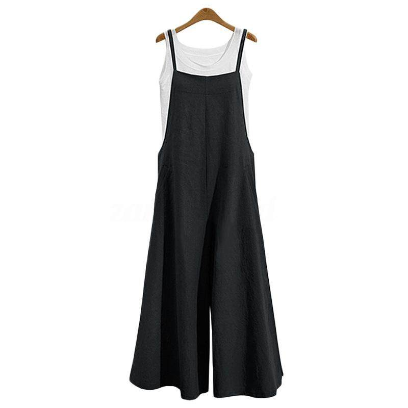 8b285ecfd5 Women Casual Solid Spaghetti Straps Wide Leg Pants Pockets Loose Bib Cotton  Linen Jumpsuits