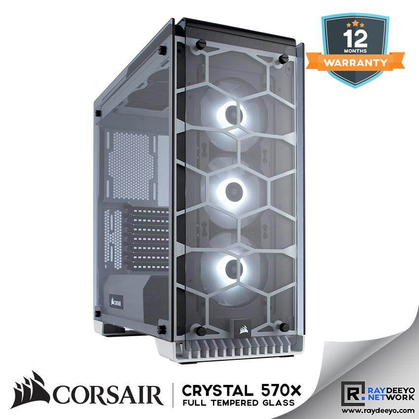 Corsair Crystal Series 570X RGB ATX Mid-Tower Case - (White) [ATX, Matx, Mini-ITX] Malaysia