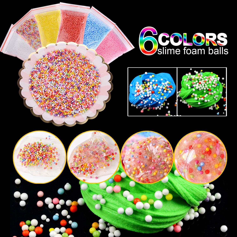 Comebuy 88 Pack Slime Making Kit Styrofoam Foam Balls Beads Charms Glitter Jars Containers Slime