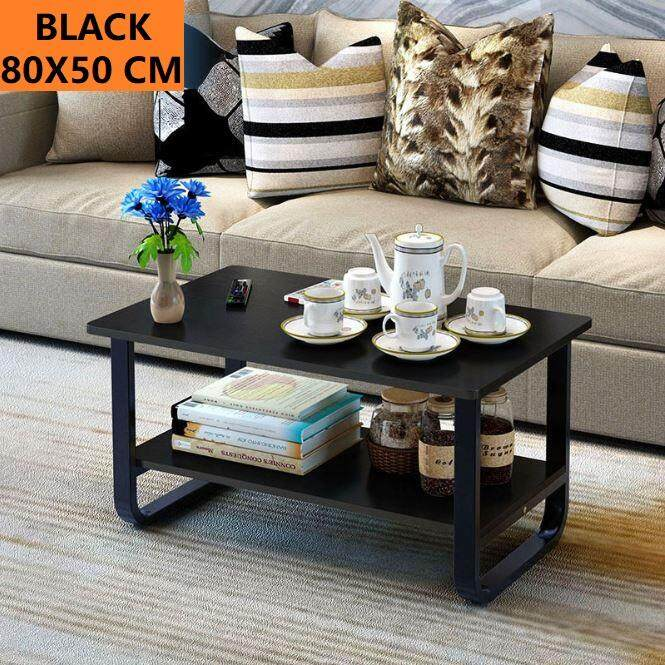 2 Tiers Rectangle Wooden Coffee Table Side Table By Jumping Rabbit.