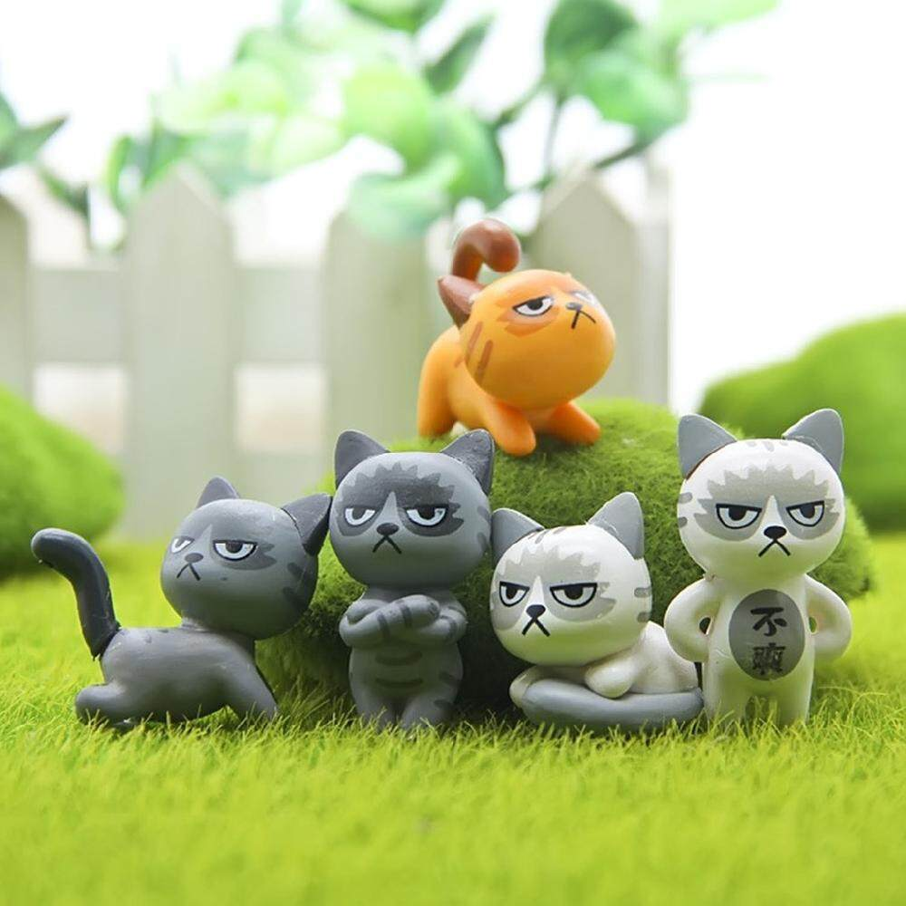 Ailsen 6pcs Mini Angry Cats Resin Craft Miniature Garden Decor Ornament Micro Landscape By Ailsen.
