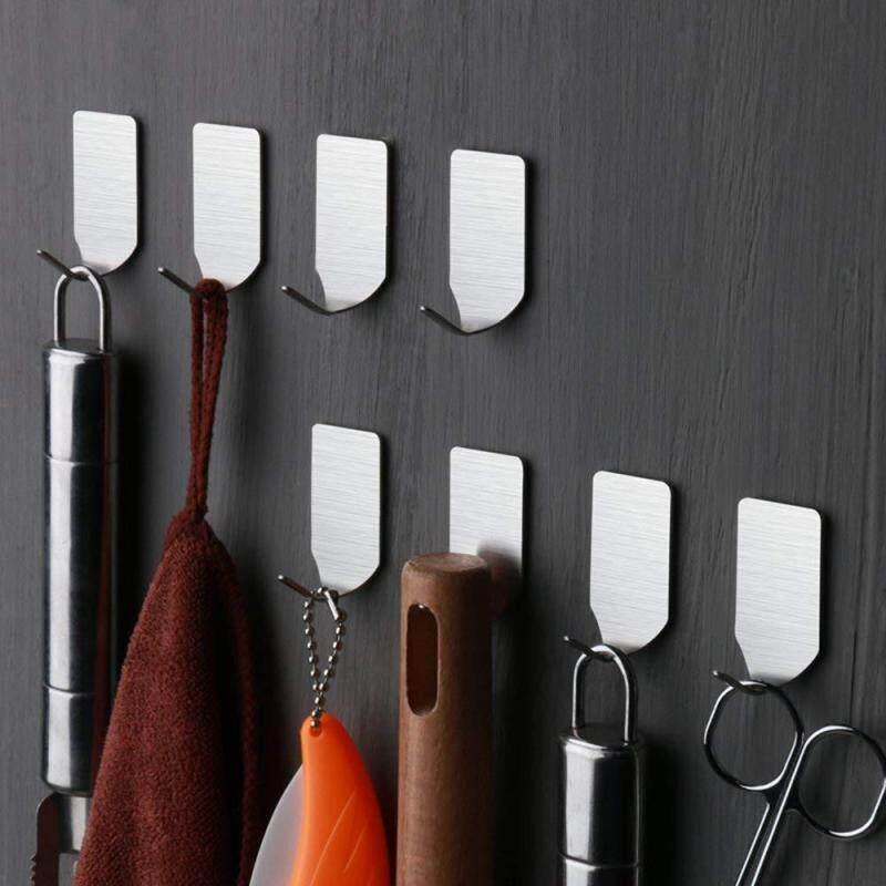 Hotilystore 8PCS Self Adhesive Home Kitchen Wall Door Stainless Steel Holder Hook Hanger