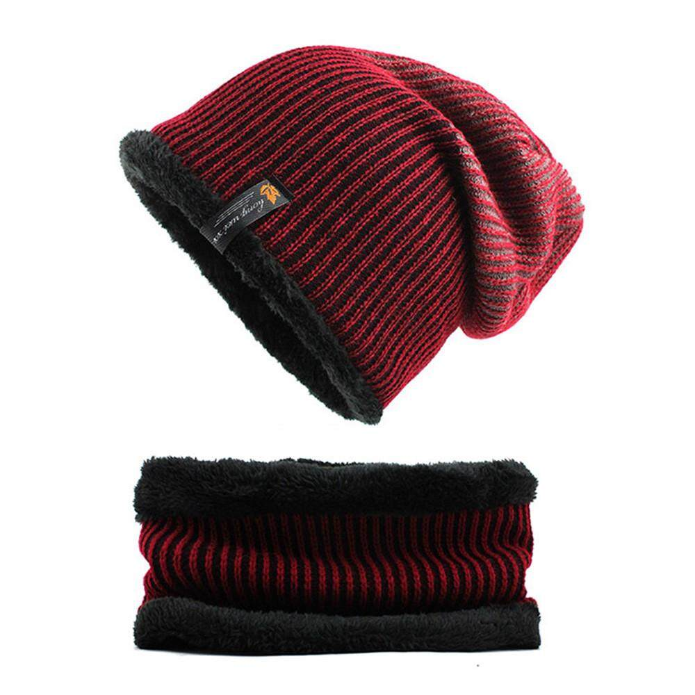 Winter Yarn Rhombus Fleece Knitted Wool Hats Cover Outdoor Beanie Cap For  Men 36a73b787356