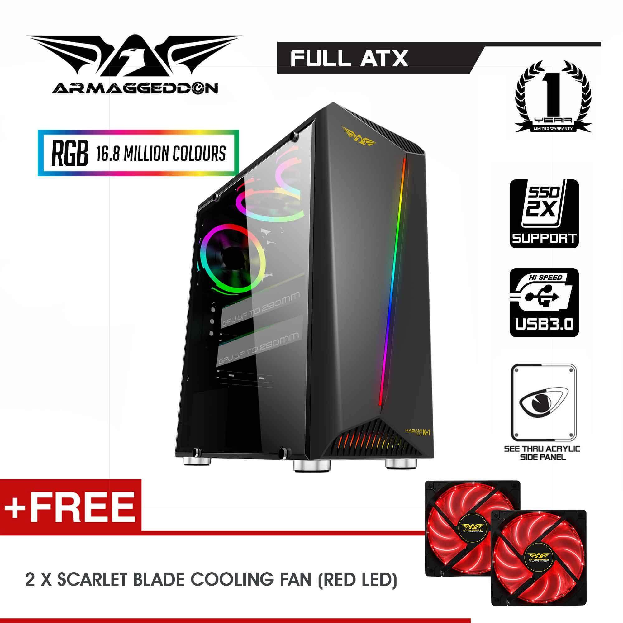 Armaggeddon KAGAMI K1 Excellent Mirco ATX Gaming PC Case (Free Fan x 2 units) Malaysia