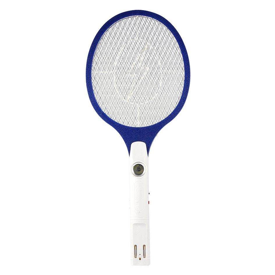 OH Rechargeable LED Electric Bug Pest Fly Mosquito Killer Swatter Zapper Racket Blue