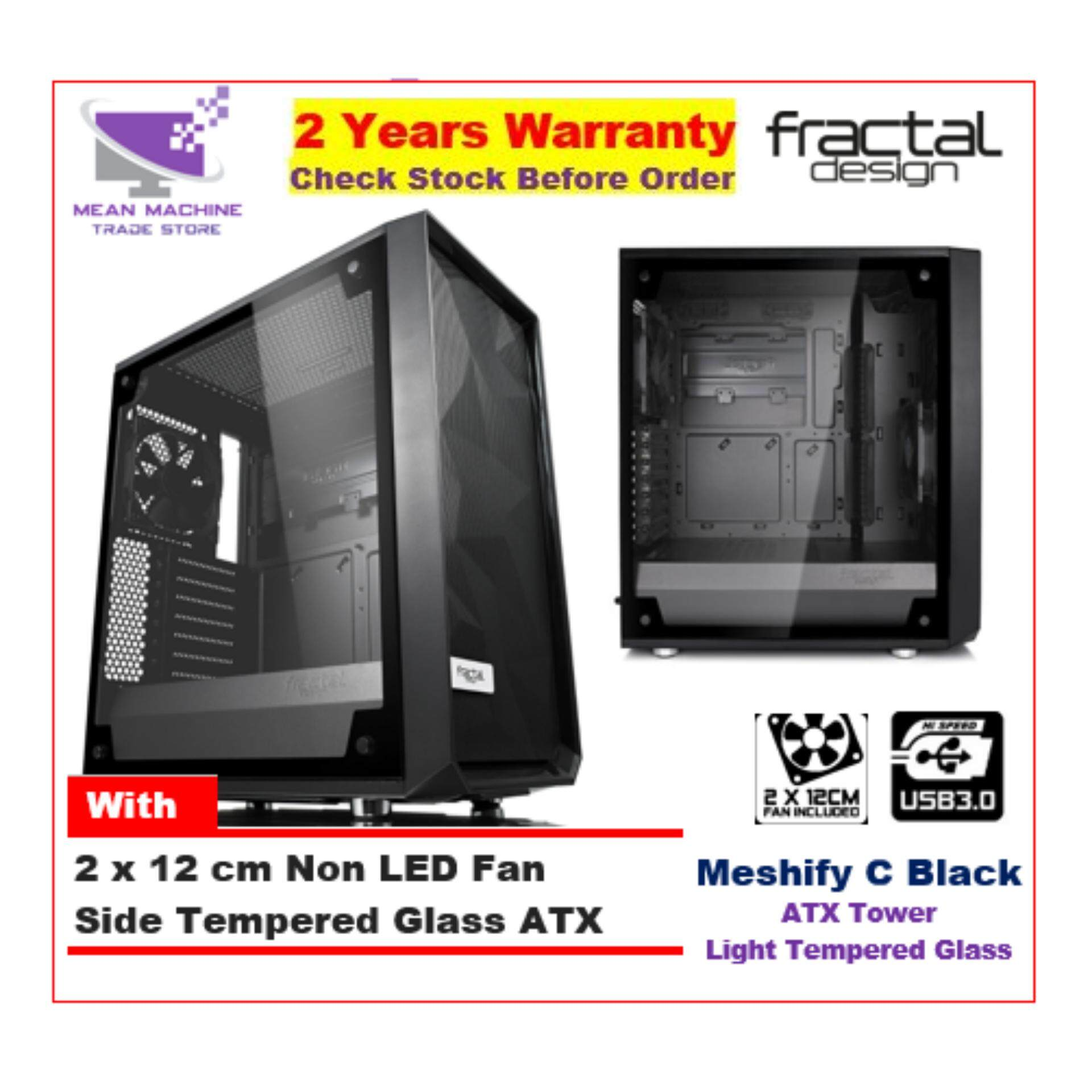 #Fractal Design Meshify C Black Light TG ATX Chassis (With 2 X 12cm Fan) # Malaysia