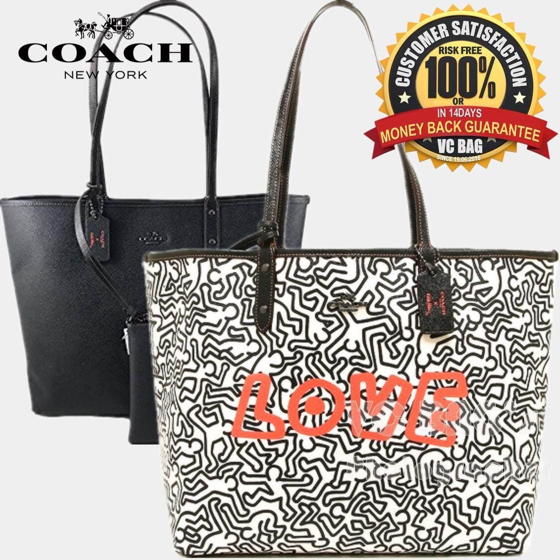 COACH X KEITH HARING F11765 Reversible City Tote Bag  Chalk Black  a723de20b66e1