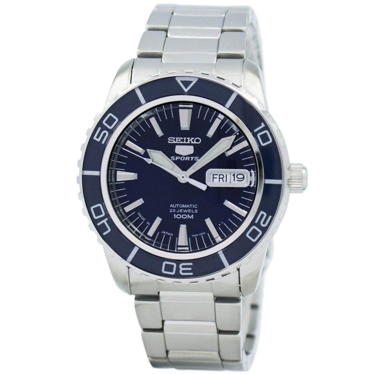 Seiko Mens Automatic 5 Sports business Analog Blue Dial Silver Band Stainless-Steel Bracelet Stainless-Steel Case Water Resistance - 100 Meter 10 Bar SNZH53J1 Malaysia
