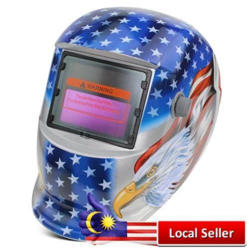 SOLAR ENERGY AUTOMATIC CHANGEABLE LIGHT ELECTRIC WELDING PROTECTIVE HELMET WITH EAGLE PATTERN (BLUE)
