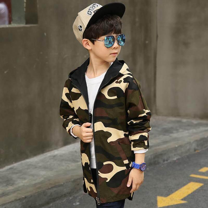 9d977b1f8c22 MuXing Hoodies Children Double-side Wear Parka 2018 Spring Teenager Boys  Camouflage Jacket Outwear Kids