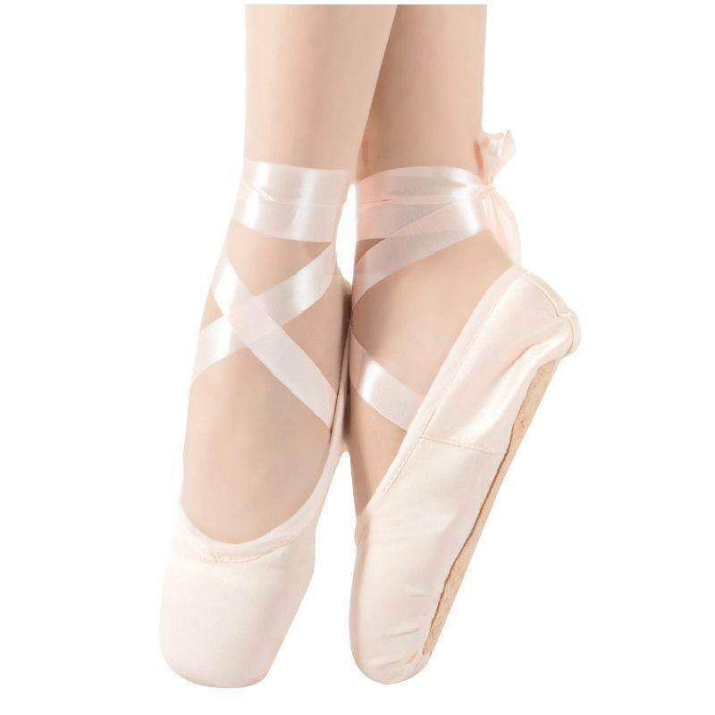 1 Pair Child Ballet Pointe Dance Shoes Professional Ballet Dance Shoes With Ribbons Shoes Light Pink-Silk Size: 31 By Happyang.