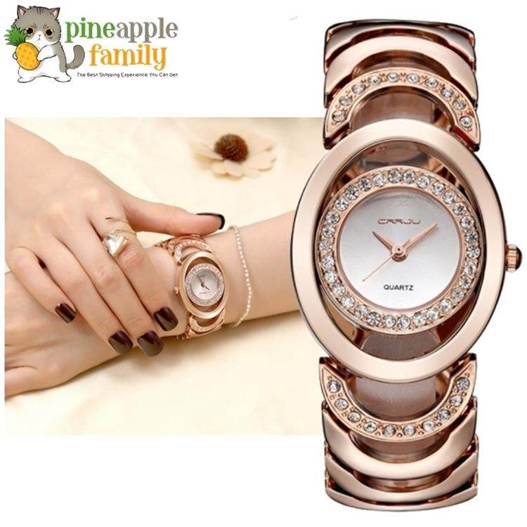 Luxury Women Gold Steel Bracelet Watch 30M waterproof Rhinestone Ladies Dress Watch Malaysia