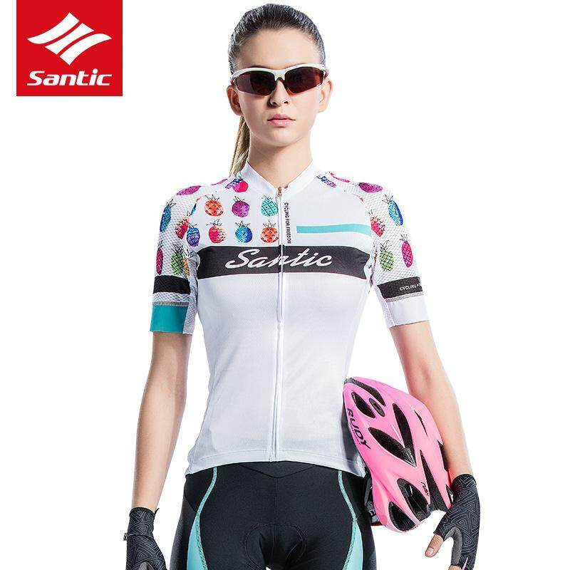 Santic Women Spring Summer Short Sleeves Cycling Bike Clothing Jersey  Windproof Jacket 100% Polyester Breathable a60ea2e6f