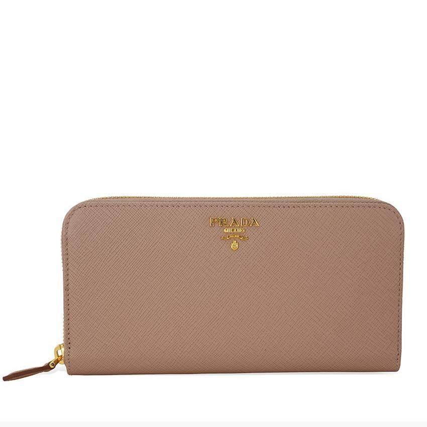 uk prada bag charm 6cb07 c5638  authentic prada zip around long saffiano  leather wallet cameo b844d e2817 768843f8d4