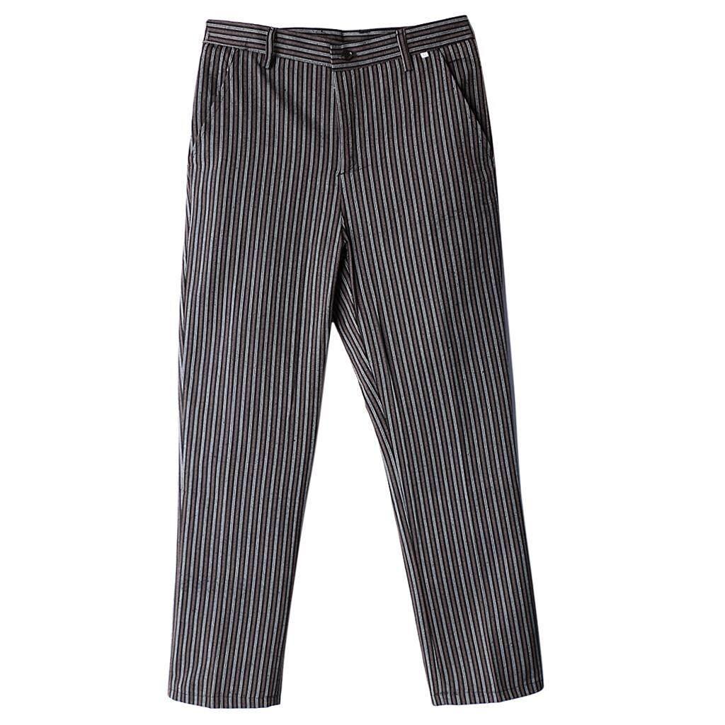 MagiDeal Chef Work Pants Restaurant Kitchen Uniform Cook Trousers Elastic Waist 4XL Stripe