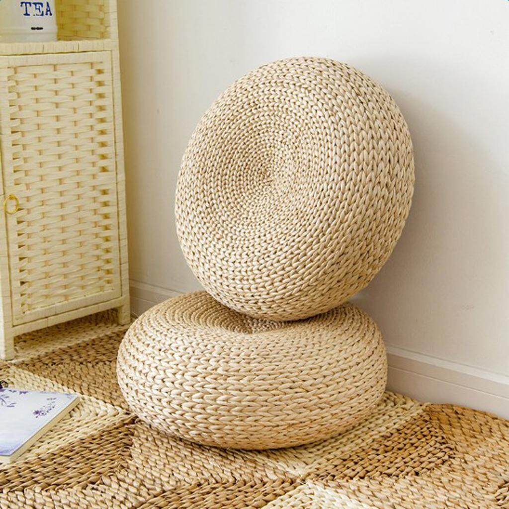 MagiDeal Handcrafted Eco-friendly Nature Straw Woven Dia. 40cm Seat Cushion Floor Mat