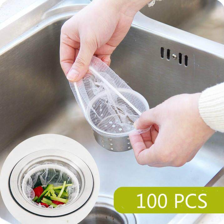 100pcs Kitchen Sink Basin Disposable Mesh Sink Strainer Bags For Stainless Steel Screen Kitchen Sink Strainer