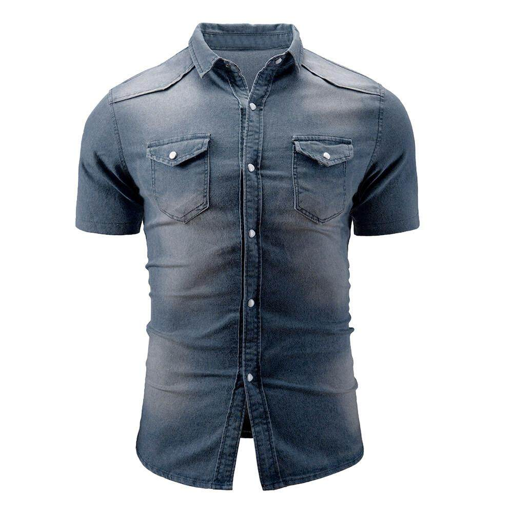 5ad6939cd Tideshop Men's Casual Slim Fit Button Shirt With Pocket Short Sleeve Tops  Blouse
