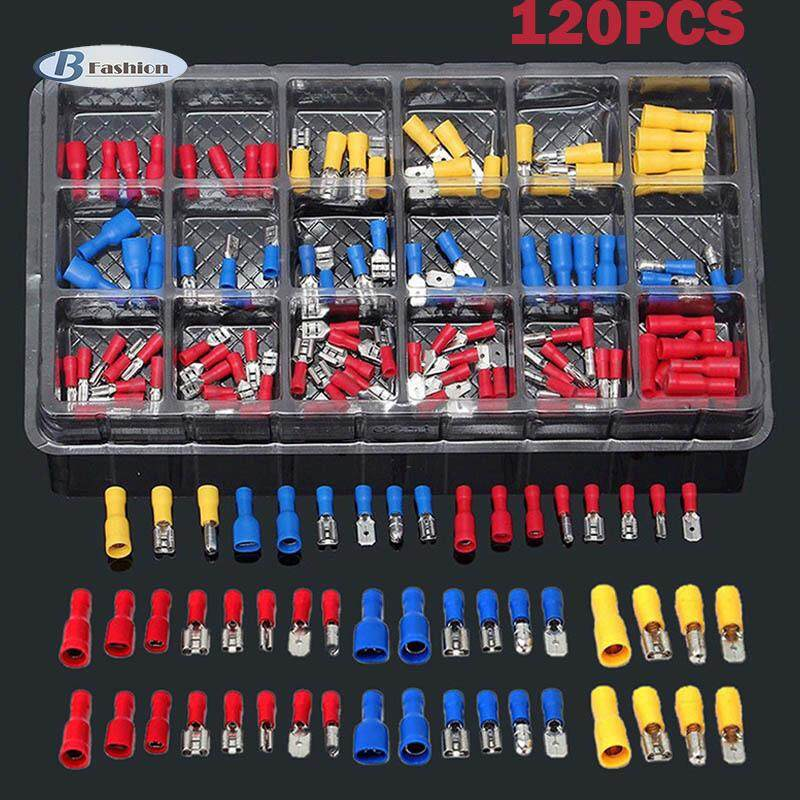 B-F 120pcs Electrical Assorted Insulated Wire Cable Terminal Crimp Connector Spade Set Kit