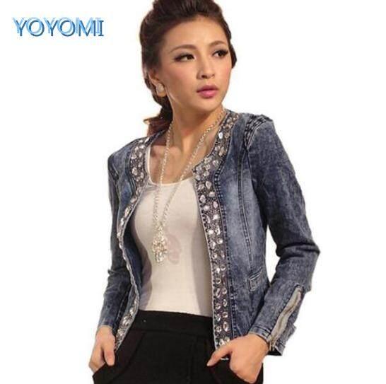 9c438f40f3392 YOYOMI 2018 Women s New Large Size Cowboy Rhinestone Sequins Long Sleeve  Denim Casual Jacket
