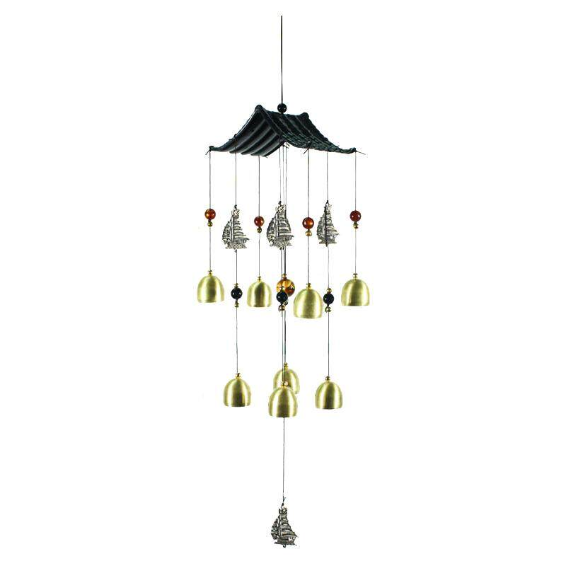 1pcs Copper Metal Home Decorations Smooth Sailing Boat Bells Wind Chimes Ornaments Craft Gift Pendant Total Length: 60cm By Shakeshake.