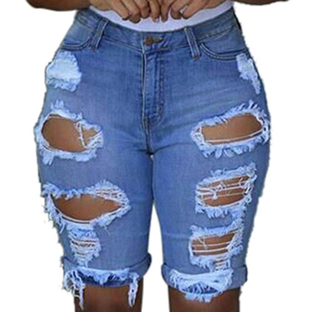a10f67d344df Women Elastic Destroyed Hole Leggings Short Pants Denim Shorts Ripped Jeans