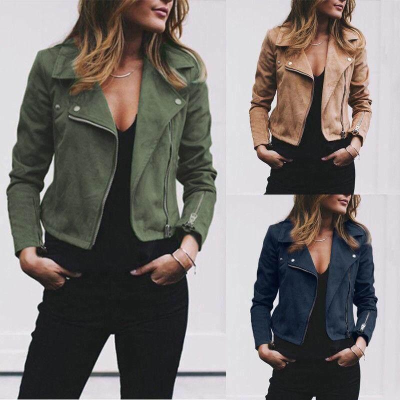 c150fce2cf Women s Ladies Leather Jacket Flight Coat Zip Up Biker Casual Tops Clothes