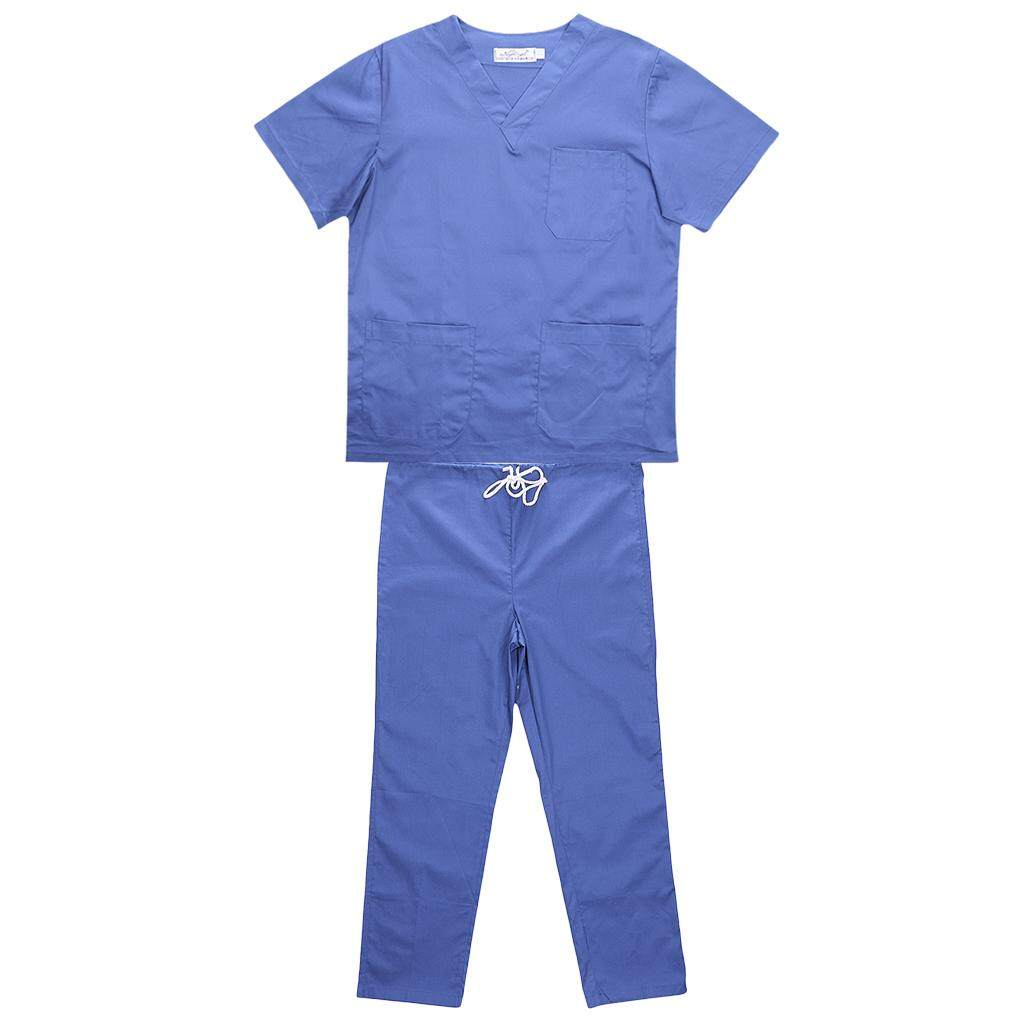 MagiDeal Men Women Medical Spa Nursing Clinic Scrub Sets Hospital Uniform XXL Blue