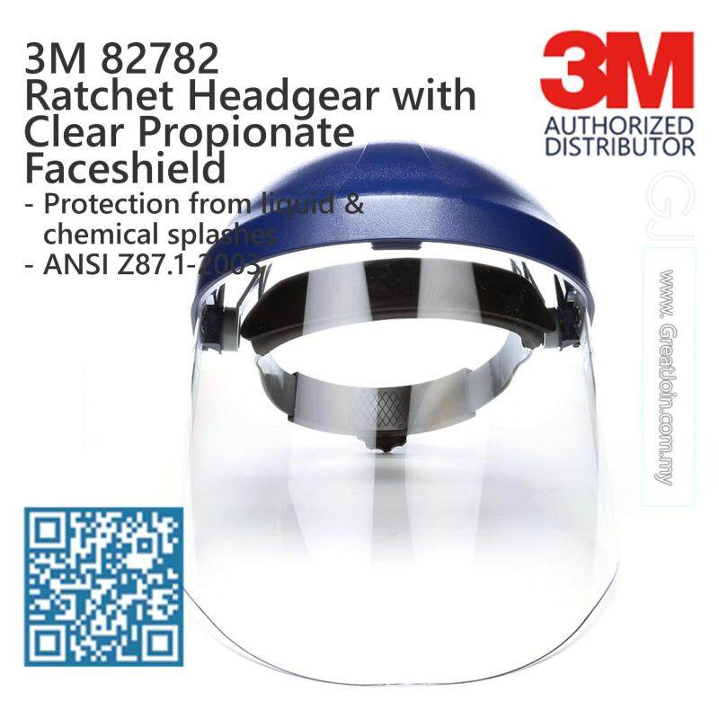 3M 82782 Ratchet Headgear with Clear Propionate Faceshield/ Head & Face Protection/ 13-Point Suspension Ratchet Type/ ANSI Approval [1 piece]