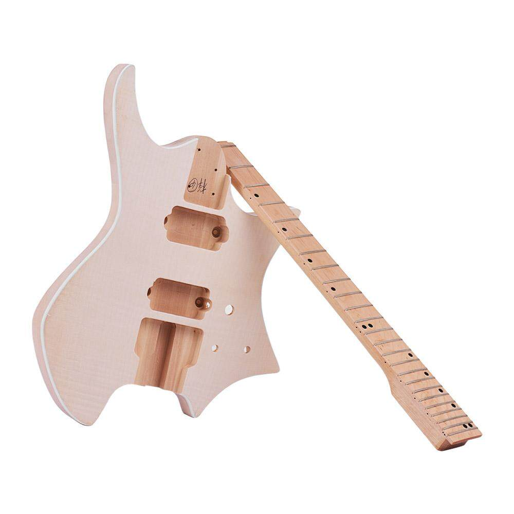 Muslady Unfinished Diy Electric Guitar Kit Basswood Body Maple Wood Fingerboard Guitar Neck Without Headstock By Tomtop.