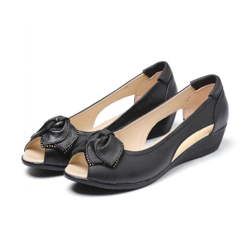 2199990f8585f Rome Summer New Style Genuine Leather Shallow Mouth Semi-high Heeled  Open-toed Shoes