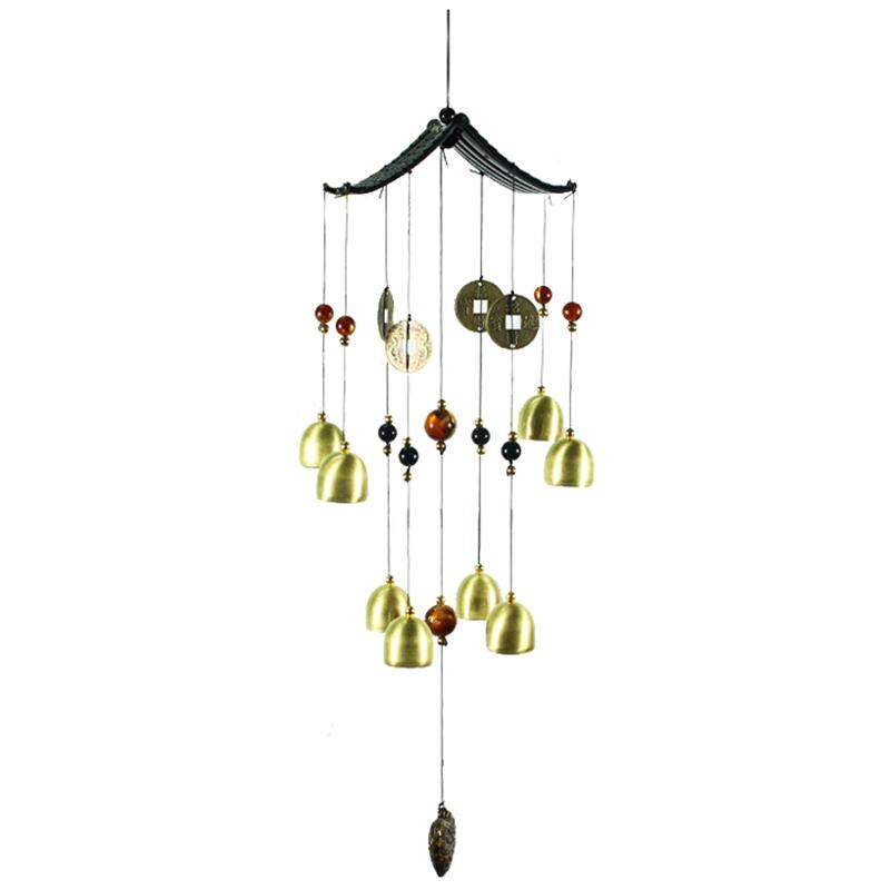 1pcs Copper Metal Home Decorations Lucky Into Treasure Copper Coins Bells Wind Chimes Ornaments Craft Gift Pendant Total Length: 60cm By Shakeshake.