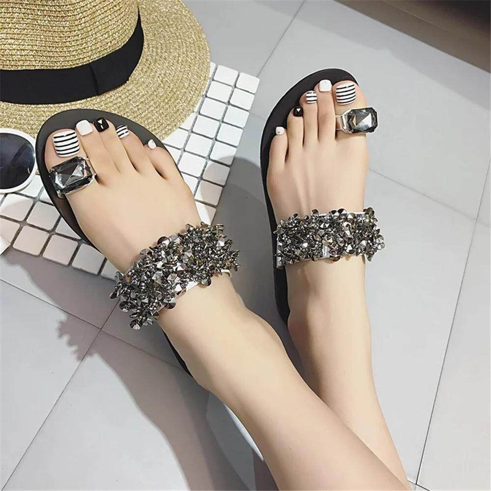 ded6ffe5a4c2ed MONIMENT Women s Flips Flops Sandals Summer Shoes Wedges Rhinestone Sandals  Slips