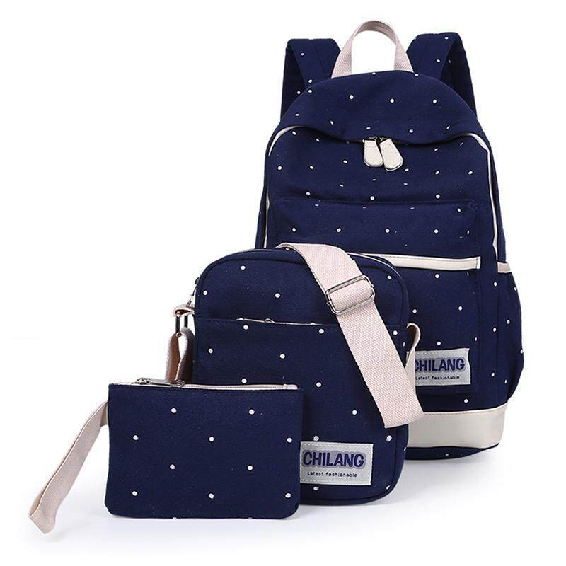 5e16793dcc850 3Pcs/Sets Korean Casual Women Backpacks Canvas Book Bags Preppy Style School  Back Bags for