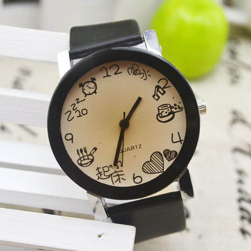 2015 New Women Girls Fuax Leather Strap Round Dial Quartz Wrist Watch Malaysia