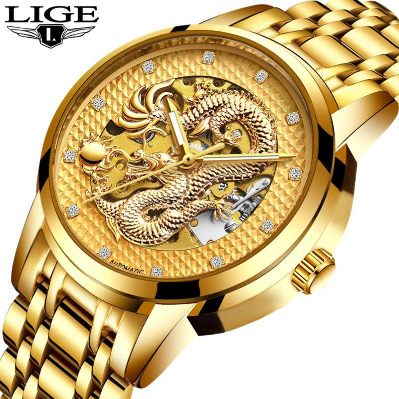 Men Luxury Automatic Mechanical Diamond Watch Men Luminous Gold Dragon Wrist Watch Male Fashion Business Gift Watch Malaysia