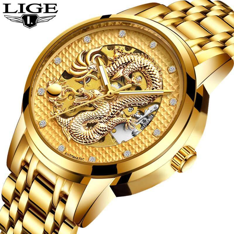 Men Luxury Automatic Mechanical Diamond Watch Men Luminous Gold Dragon Wrist Watch Male Fashion Business Gift Watch Malaysia